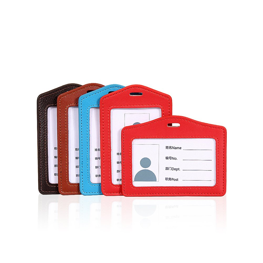 Zhi Jin Exquisite Leather ID Badge Holder Credit Card Sleeves Protectors Organizer Case Office School Pack of 5 Mixed Color