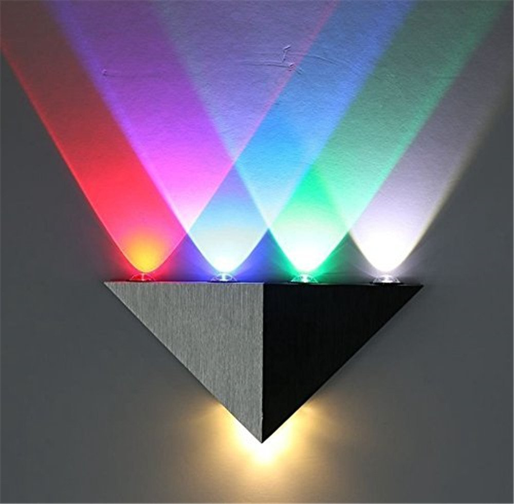 Yaojiaju Wall Lamp Aluminum Triangle High Power Led Modern Home Lighting Indoor Outdoor Party Led Light (Color : RGB)