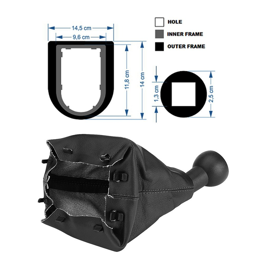5 Gear Shift Knob manuell 5 SPEED schwarz Leder Gear Shift Knob Kit Gaiter Kofferraum Staubdicht Gear Stick Cover Ersatz Weiche Haptik