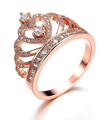 804f4961278f Anillo mujeres compromiso joyería princesa corazón corona tiara chapado en  oro rosa circonita bisutería anillos de casar regalo para niña  Amazon.es   ...