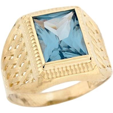 10k Real Gold Simulated Aquamarine March Birthstone Mens Ring