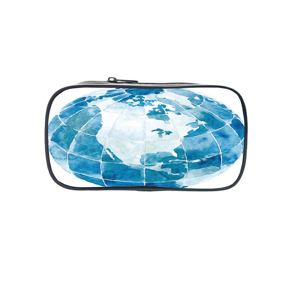 Customizable Pen Bag,Map,Hand Drawn Watercolor Style Globe Sphere with North America Continent Paint Effect,Blue White,for Kids,3D Print Design