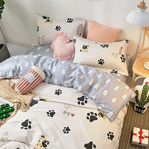 BHUSB Cute Kids Cartoon Cotton Duvet Cover Queen Set Dog Paw Print 3 Piece Animal Bedding Sets Full White Gray Boys Girls Teens Bedding Collection Hidden Zipper,4 Corner Ties by BHUSB (Image #4)