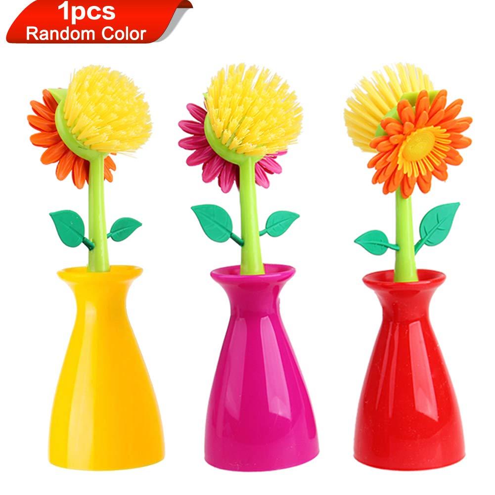 Wed2BB Flower Design Non-Scratching Nylon Dish Brush With Vase Holder - Random Color