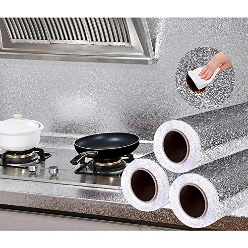 Tsunseam Heat-Resistant/Oilproof and Waterproof Kitchen Aluminum Foil/Kitchen Backsplash Wallpaper/Stickers (15.7 by 200 Inches)