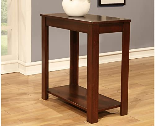 Cherry finish wood rectangular chair side end table