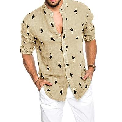 Mens Summer Flamingo Shirts Long Sleeve Buttons Down Aloha Beach Hawaiian Shirt at Men's Clothing store