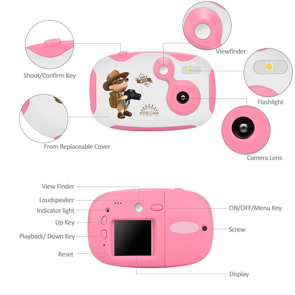 DishKooker 1.44 inch Digital Video Camera for Kids 1080P HD Sports Learn Mini Camera Camcorder for Boys Girls Pink by DishKooker (Image #3)