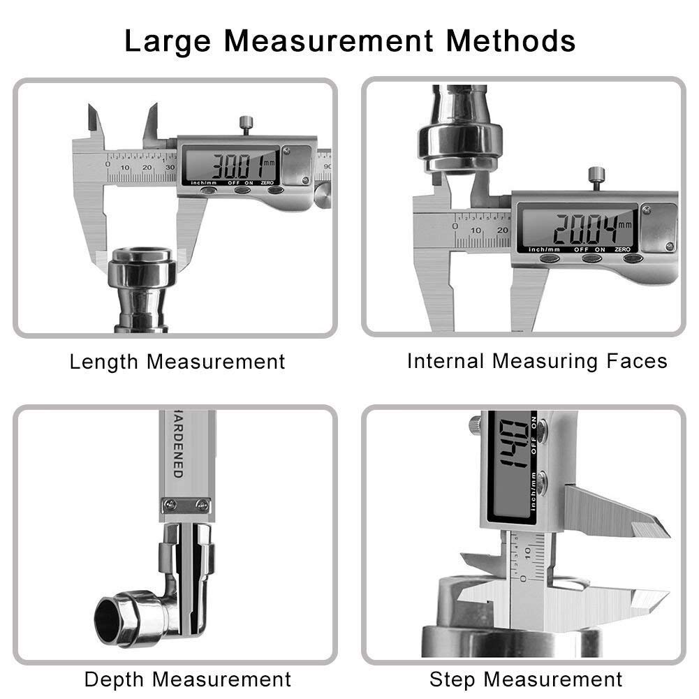 KINOEE Electronic Digital Vernier Caliper Stainless Steel Caliper 150mm//0-6 inch Measuring Tools with Extra-Large LCD Screen inch//Metric Conversion