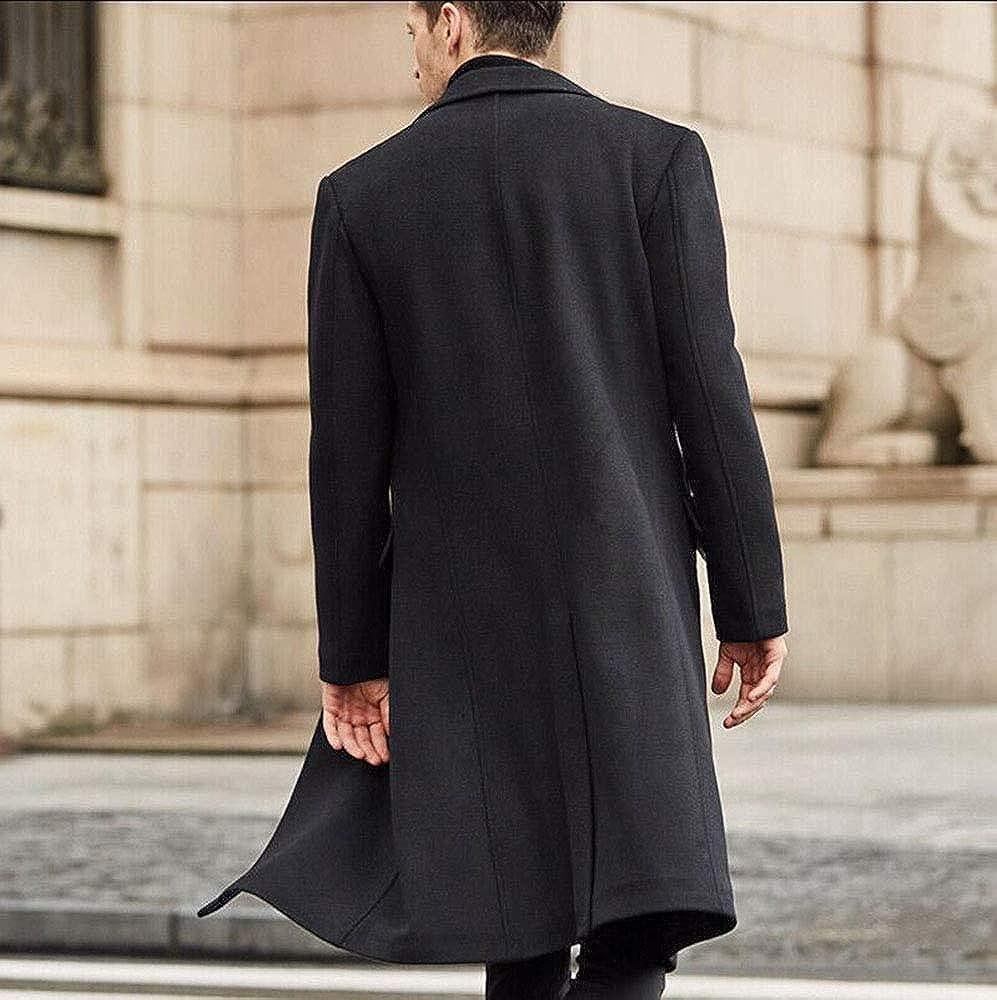 Automne Hiver Style Britannique Hommes Manteau De Laine Hommes Mode Single Breasted Slim Fit Longue Section D'équitation Manteau Noir