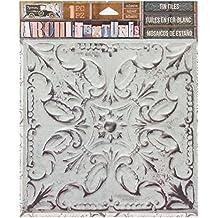 """Canvas Corp 7 Gypsies Architextures Adhesive Tin Tiles 5.75""""X5.75""""-White Wash"""