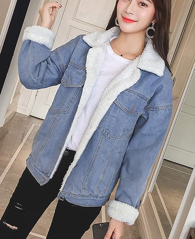 LifeShe Womens Boyfriend Winter Faux Fur Collar Fleece Lined Denim Jean Jacket Coats 3XL
