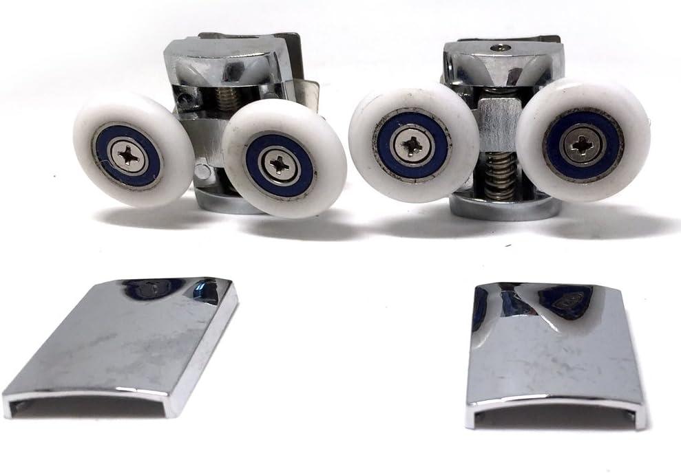 Repuesto ruedas para mampara de ducha cromo – 4 x Top & 4 x parte inferior – para cristales 6 – 8 mm.: Amazon.es: Bricolaje y herramientas