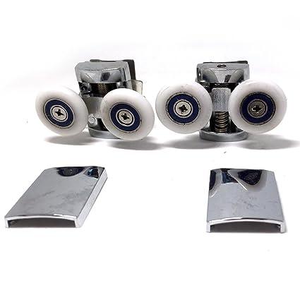 Repuesto ruedas para mampara de ducha cromo – 4 x Top & 4 x parte inferior