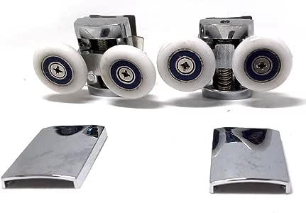 Repuesto ruedas para mampara de ducha cromo – 4 x Top & 4 x parte ...