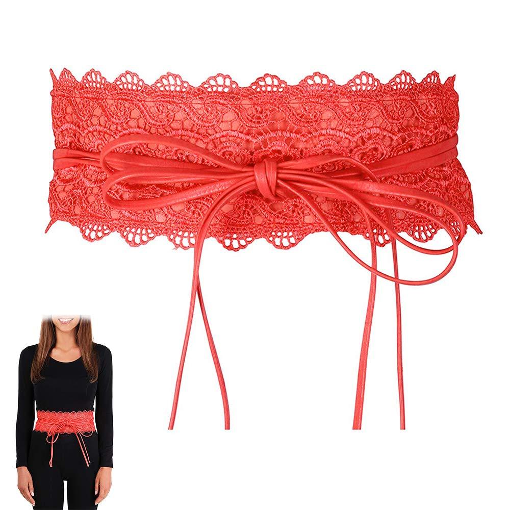 Women's Lace Waist Belt Bowknot Lace Self Tie Wrap Around Obi Waist Band Cinch Wide Boho Belt (brown)