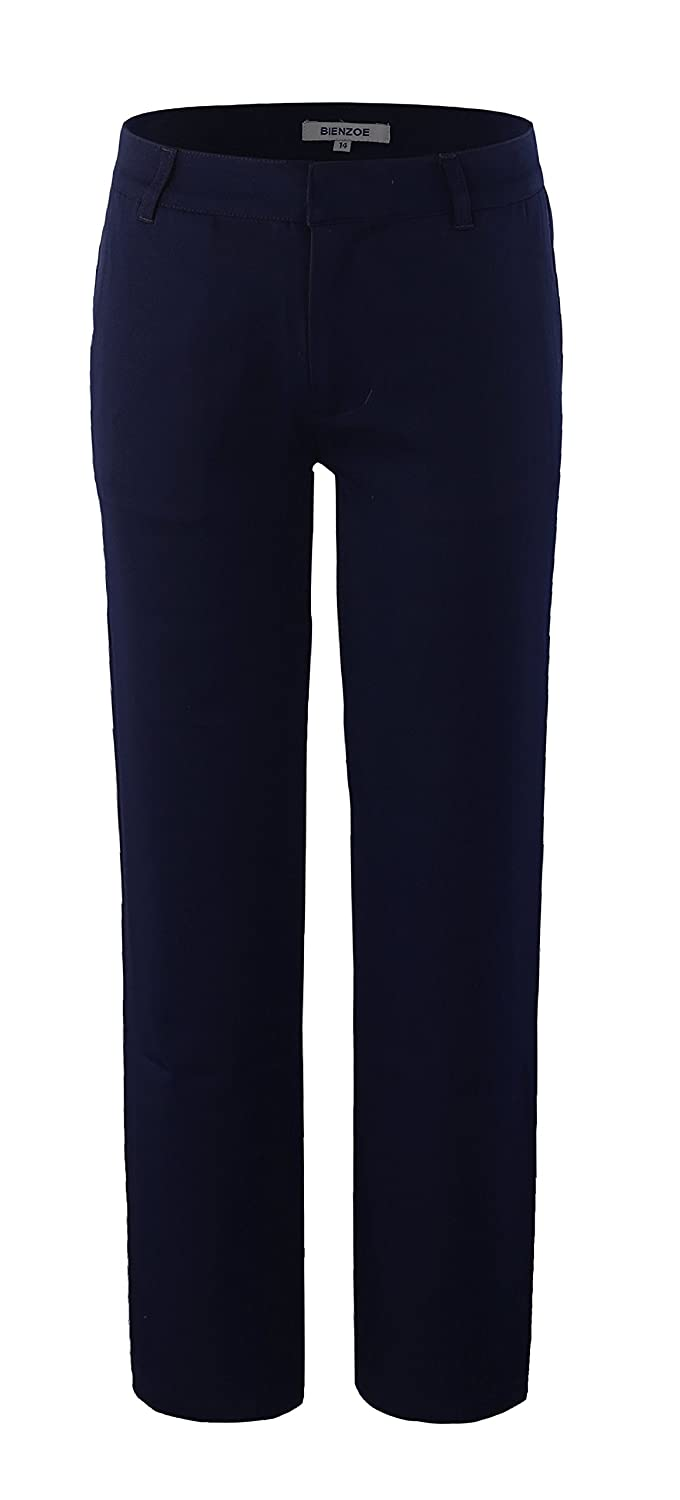 Bienzoe Boy's School Uniforms Durable Adjustable Waist Flat Front Pants