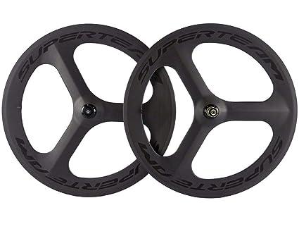 FidgetGear 700C Tri Spoke Juego de Ruedas de Fibra de Carbono para Bicicleta de Carretera/