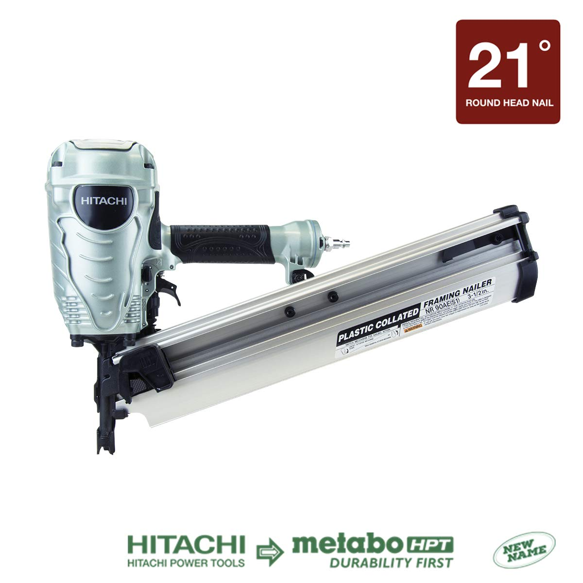 Hitachi NR90AES1 Framing Nailer, 2-Inch to 3-1 2-Inch Plastic Collated Full Head Nails, 21 Degree Pneumatic, Selective Actuation Switch, 5-Year Warranty Discontinued by the Manufacturer