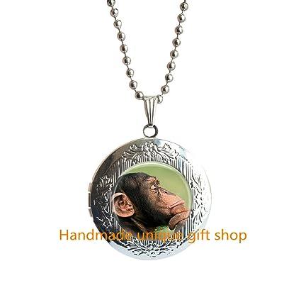 Amazon com: Handmade unique gift shop Monkey Locket Necklace