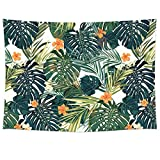 Uphome Palm Tree Leaves and Flowers Tapestry Hanging Light-Weight Polyester Fabric Wall Decor (51'' H x 60'' W, Leaves and Flower)