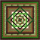 Tumbling Star/Green and Browns/quilt Kit/QUEEN/EXPEDITED SHIPPING