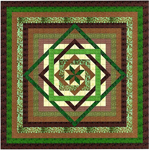Tumbling Star/Green and Browns/quilt Kit/QUEEN/EXPEDITED SHIPPING by Kaufman/Galaxy