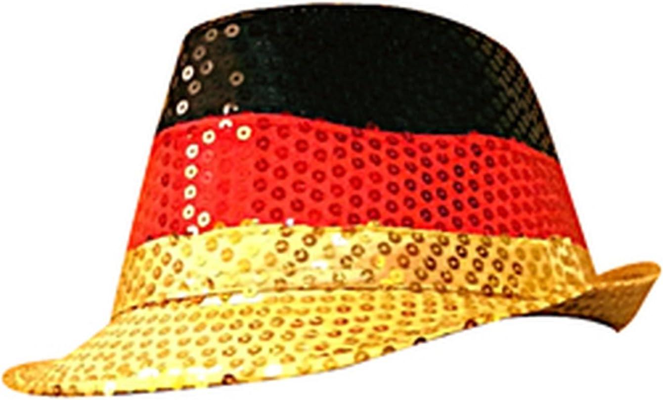 Hut f/ür M/änner /& Frauen Fanartikel Deutschland Fahnen /& Flaggen Kopfbedeckung | Preis am Stiel Hut Deutschland mit Pailletten Public Viewing Fanartikel