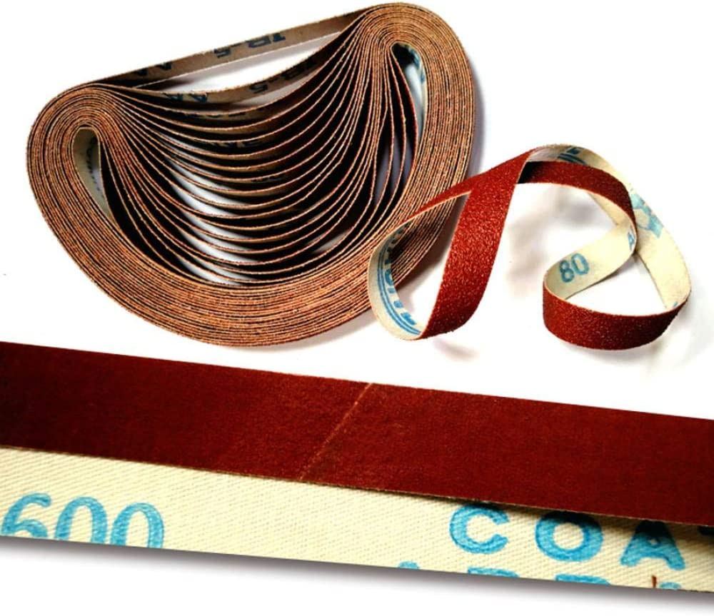 KJKJ Sanding Paper 2-50Pcs 13x458mm Strong Abrasive Belt Sanding Band 80-600 Grit Coarse to Fine Grinding Belt Grinder Accessories 13x458mm(10pcs) 13x458mm(5pcs)