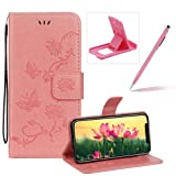 Strap Leather Case for iPhone XS Max,Pink Wallet