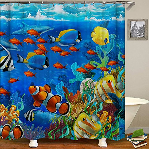 ALFALFA Fish Shower Curtain Ocean Clear Undersea World Sea Animal with Corals Reefs and Tropical Fishes Waterproof Fabric, 72
