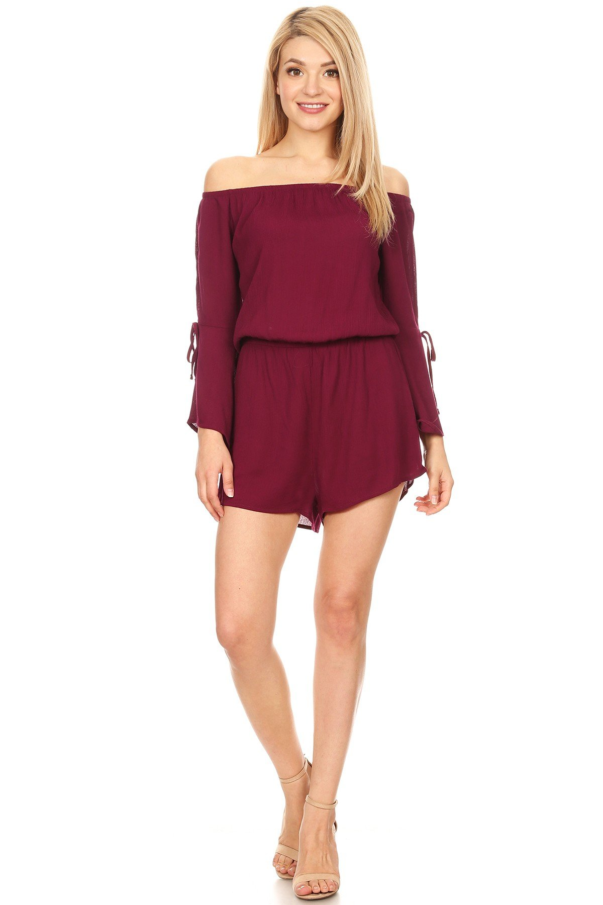 Ambiance Apparel Sexy Solid Off-Shoulder Long Sleeves Romper for Women's (Medium, Burgandy)
