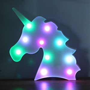 Color Changeable Unicorn Light Marquee Signs LED Unicorn Night Lights Wall Decor Desk Table Lamp Gift Wedding Holiday Birthday Christmas Party Supplies for Child Kids Baby Toys Girls Room Bedroom