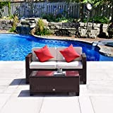 Cloud Mountain 2 PC Patio Rattan Love Seat Furniture Bistro Sofa Set Outdoor Wicker Patio Garden Glass Top Table, Cocoa Brown Rattan with Creamy White Cushions