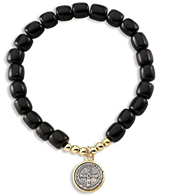8dab04fd6b643 Catholica Shop Stretch Bracelet - Catholic Religious Wear Saint Benedict  Elasticated Medal Bracelet with Wood Beads Rosary