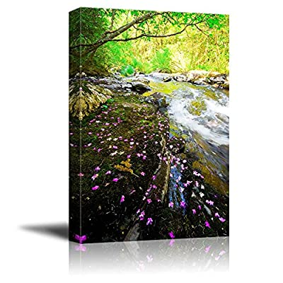 Canvas Prints Wall Art - Beautiful Scenery of Rhododendron Dauricum Bagulnik Fallen Flowers on Stream Smolny | Modern Wall Art Stretched Gallery Canvas Wraps& Ready to Hang - 36