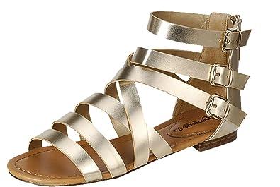 50df3208e9 Breckelle's Women's Covina-24 Gladiator Strappy Flat Sandals,Champagne,9