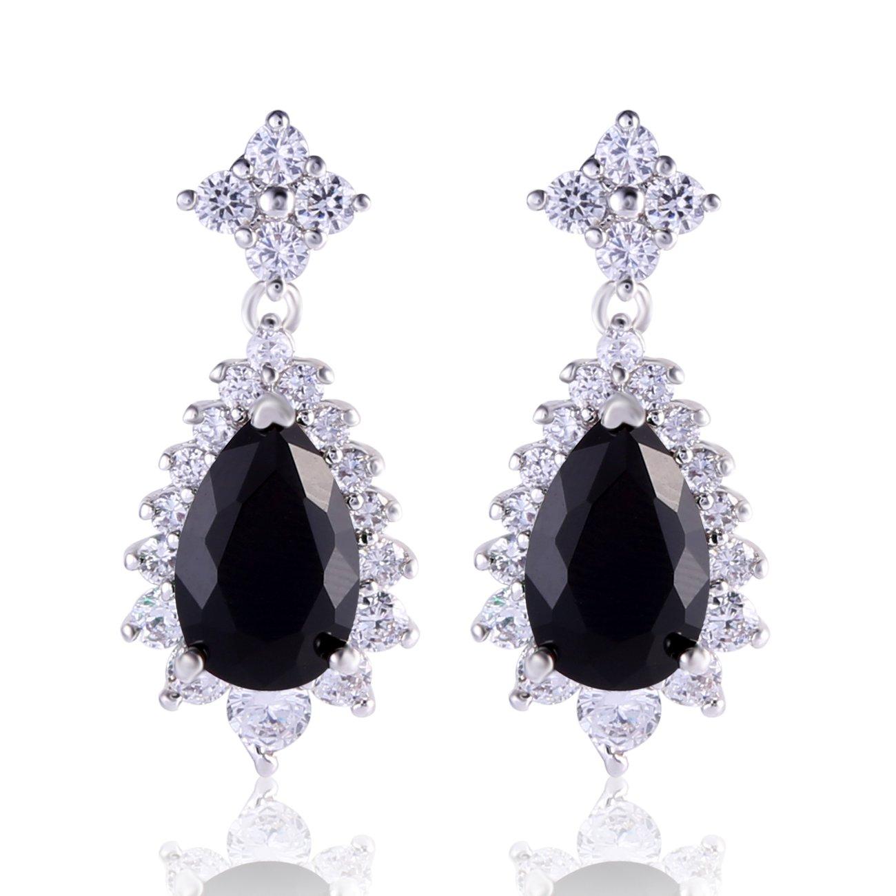 GULICX Vogue style Silver Tone Bule Sapphire Color Cubic Zirconia Fit Party Dangle Earrings