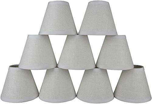 Urbanest Set of 9 Woven Paper Hardback Chandelier Lamp Shade, 3-inch by 6-inch by 5-inch, Clip-on, White