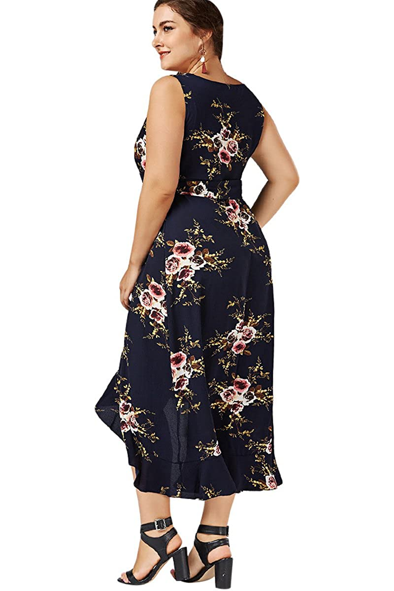 787e7a92d7fa MERRYA Women s Bohemia Floral Printed Wrap Bodice Sleeveless Dress Long  Formal Flowy Beach Party Dress with V Neck and Belt