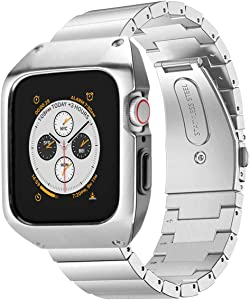 HATALKIN Compatible with Apple Watch Band 44mm Series 6/5/4 SE, Men Stainless Steel Metal Band & Metal/PC Case Compatible for Apple Watch SE 44mm & Apple Watch Series 6/5/4 44mm (Silver)
