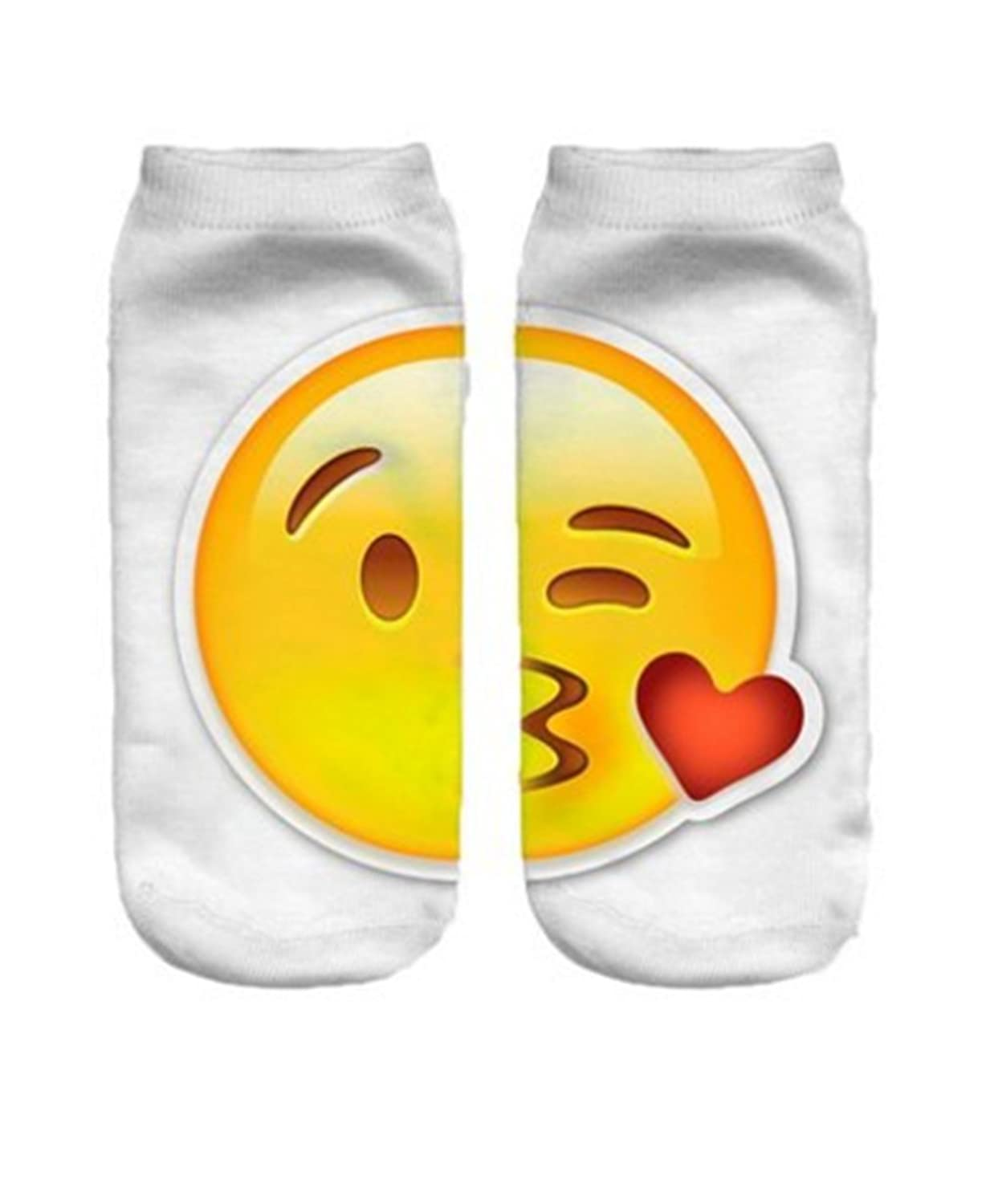 2 Pairs Funny Cartoon 3D Print Emoticon Face Socks Unisex Style Low Cut Ankle Socks