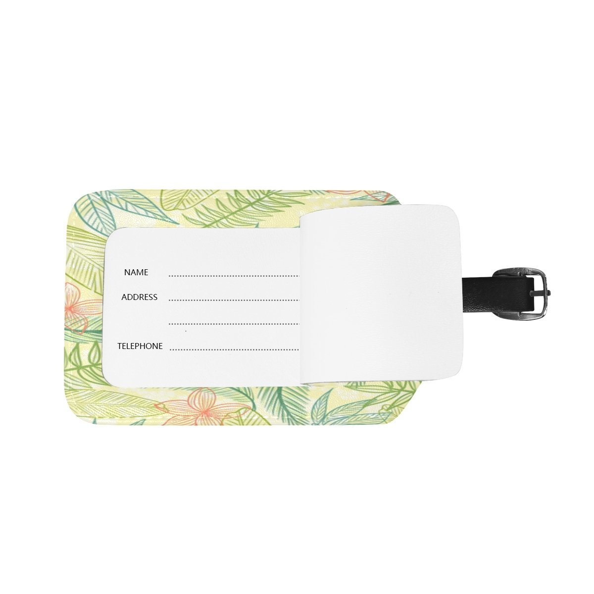 1Pcs Saobao Travel Luggage Tag Tropical Plants Background PU Leather Baggage Suitcase Travel ID Bag Tag