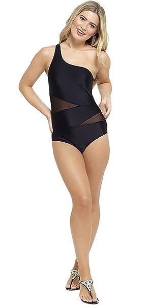 5485311876 Tom Franks Ladies One Shoulder with Mesh Panels Swimsuit One Piece Tummy  Control Swimwear: Amazon.co.uk: Clothing