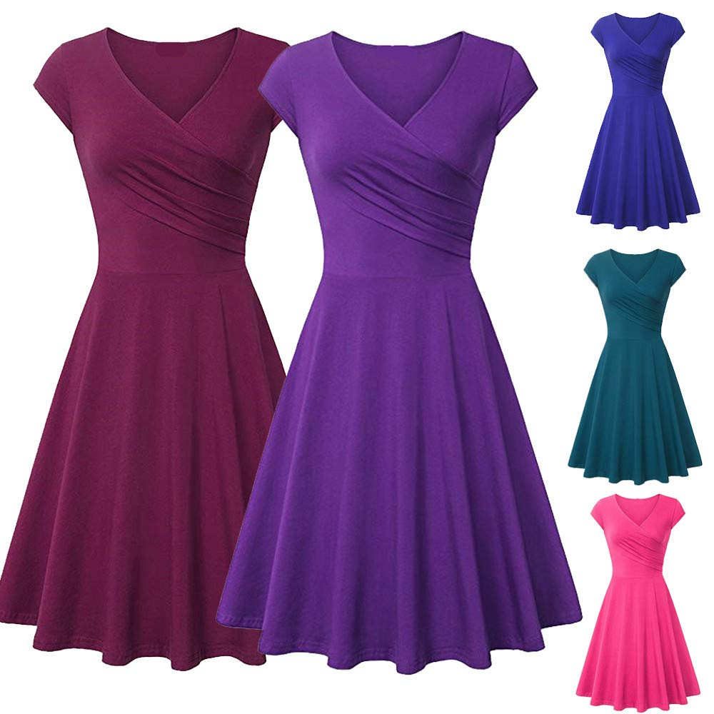 936a926b353 Amazon.com  Ulanda Womens Elegant Dresses Cross Wrap V Neck Cap Sleeve A  Line Dress Simple Chic Evening Party Dress  Clothing