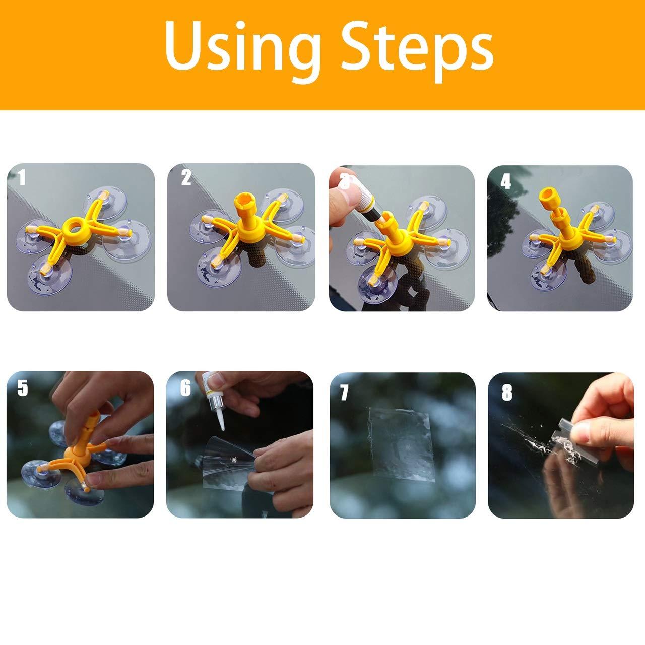 Finestra Kit di Riparazione per Parabrezza crevature bricolage Graffi Ventosa Yiyu per Riparazione di Cristalli Automatici