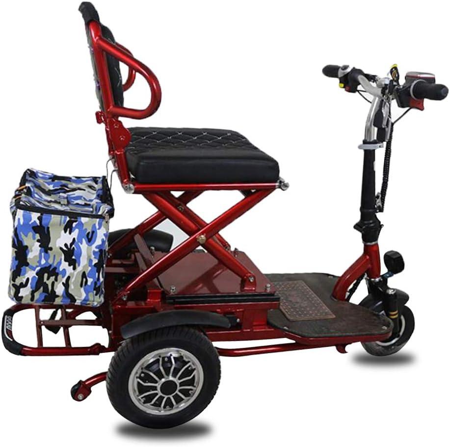 MMRLY Triciclo eléctrico Plegable, Scooter de Movilidad para Adultos, Uso Ligero para Personas Mayores discapacitadas Eléctrico de Tres Ruedas 48V / 20AH / Kilometraje 55KM / Carga 120KG
