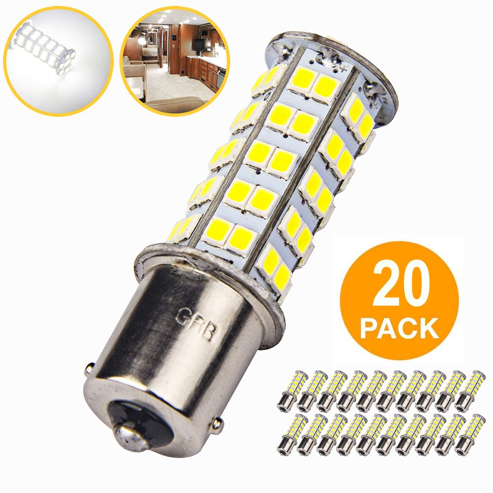 20 x Super Bright 1141 RV Interior LED Light 1156 1003 BA15S 68-SMD Camper Trailer Turn Signal Lamp Bulb 12V Landscape Pathway Outdoor(20pieces of Pure White) GRB 1156 1141 1003