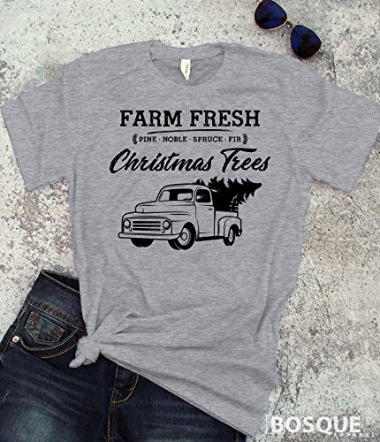 Country Farm Fresh Christmas Trees T-Shirt / Adult T-shirt Top Tee design - Ink Printed by Modern Vector