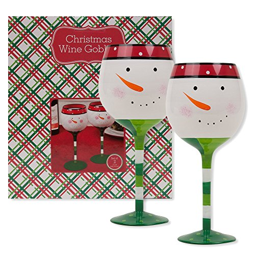 Christmas 16.9 oz Snowman Wine Glasses (Set of 2) - Shore Jim Macys